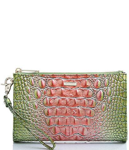 BRAHMIN Melbourne Collection Daisy Crocodile-Embossed Leather Wristlet