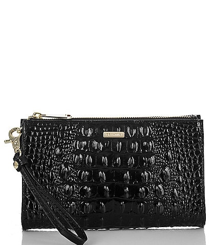 BRAHMIN Melbourne Collection Crocodile-Embossed Daisy Wristlet