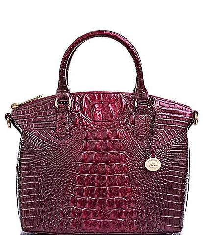 BRAHMIN Melbourne Collection Duxbury Leather Crocodile-Embossed Satchel Bag