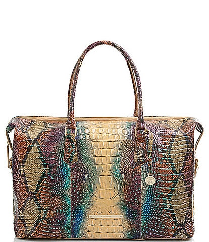 BRAHMIN Melbourne Collection Duxbury Crocodile-Embossed Animal Print Weekender Bag