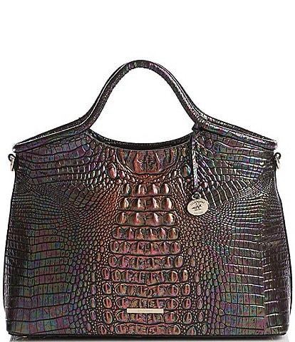 BRAHMIN Melbourne Collection Elaine Crocodile-Embossed Leather Rolled Handle Satchel Bag