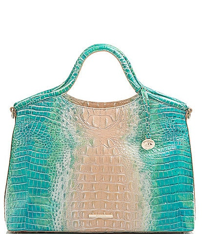 BRAHMIN Melbourne Collection Elaine Crocodile-Embossed Leather Satchel Bag
