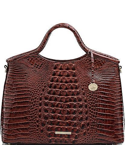 BRAHMIN Melbourne Collection Elaine Crocodile-Embossed Leather Top Zip Satchel Bag
