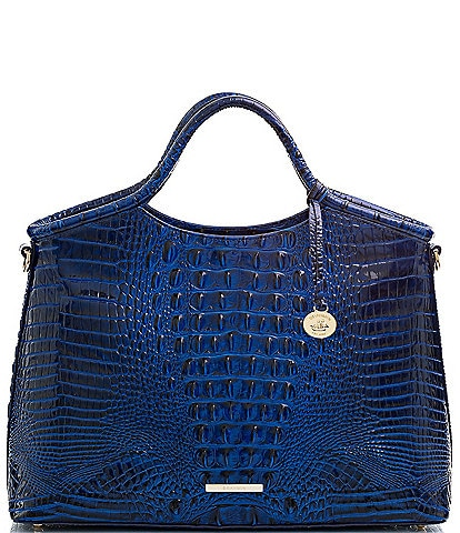 BRAHMIN Melbourne Collection Elaine Crocodile-Embossed Leather Top Zip Satchel Bag