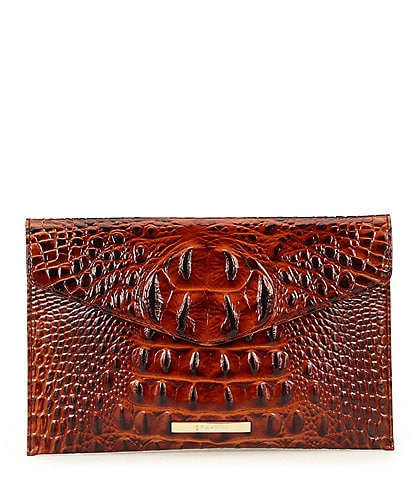 BRAHMIN Melbourne Collection Crocodile-Embossed Envelope Clutch