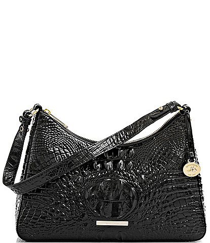 BRAHMIN Melbourne Collection Esme Crocodile-Embossed Leather Shoulder Bag