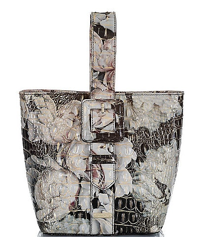 BRAHMIN Melbourne Collection Faith Leather Floral Crocodile-Embossed Convertible Top Handle Pouchette Crossbody Bag