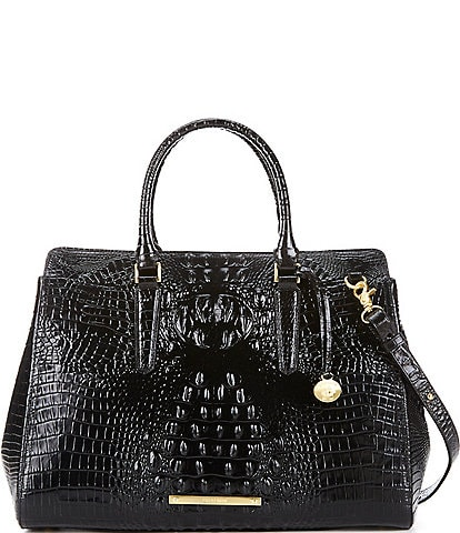 BRAHMIN Melbourne Collection Finley Leather Crocodile-Embossed Carryall Satchel Tote Bag