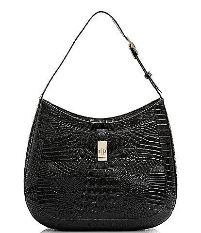 BRAHMIN Melbourne Collection Johanna Crocodile-Embossed Leather Shoulder Bag