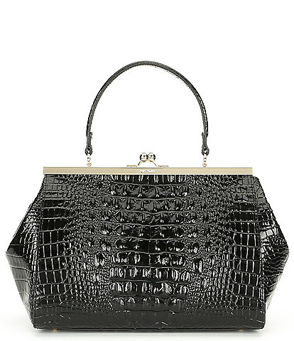 BRAHMIN Melbourne Collection Juliette Crocodile-Embossed Frame Satchel Bag