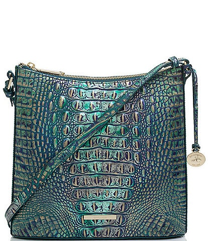 BRAHMIN Melbourne Collection Katie Crocodile-Embossed Leather Crossbody Bag