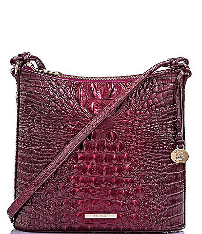 BRAHMIN Melbourne Collection Katie Leather Crocodile-Embossed Crossbody Bag