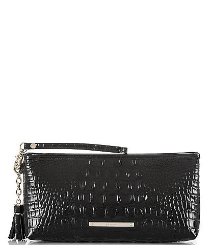 Brahmin Melbourne Collection Kayla Crocodile-Embossed Tasseled Wristlet