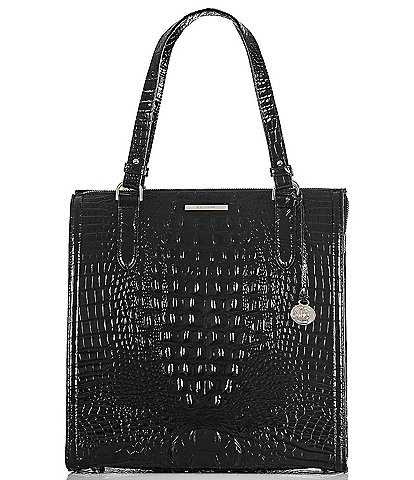 BRAHMIN Melbourne Collection Large Caroline Crocodile-Embossed Satchel Bag