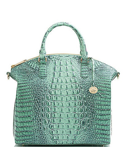 BRAHMIN Melbourne Collection Large Duxbury Crocodile-Embossed Dome Satchel Bag