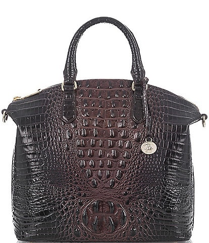 BRAHMIN Melbourne Collection Large Duxbury Crocodile-Embossed Dome Satchel