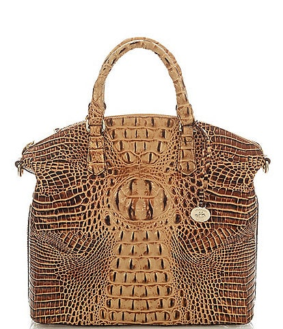 BRAHMIN Melbourne Collection Large Crocodile-Embossed Duxbury Satchel Bag
