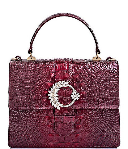 BRAHMIN Melbourne Collection Luxe Mini Francine Crocodile-Embossed Embellished Buckle Satchel Bag