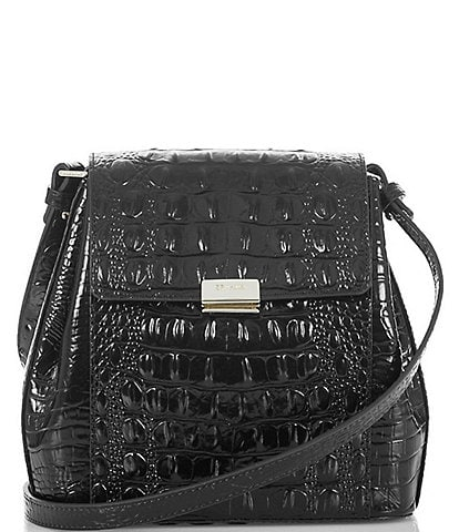 BRAHMIN Melbourne Collection Margo Crocodile-Embossed Crossbody Bag