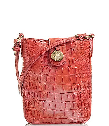 BRAHMIN Melbourne Collection Marley Crocodile-Embossed Crossbody Bag