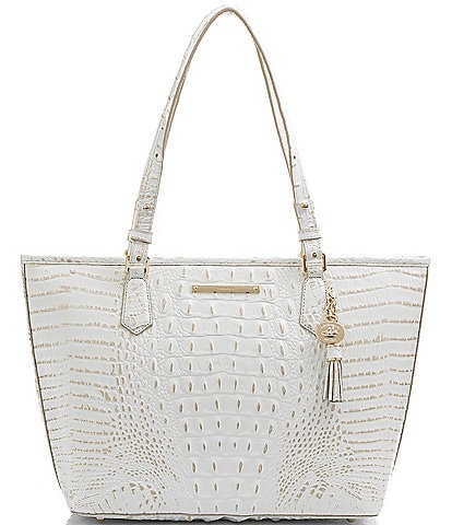 BRAHMIN Melbourne Collection Leather Crocodile-Embossed Medium Asher Tasseled Tote Bag
