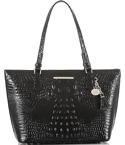 BRAHMIN Melbourne Collection Crocodile-Embossed Medium Asher Tasseled Tote