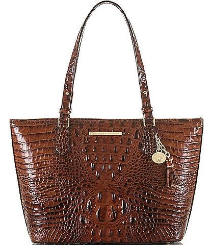 BRAHMIN Melbourne Collection Crocodile-Embossed Medium Asher Tasseled Tote Bag