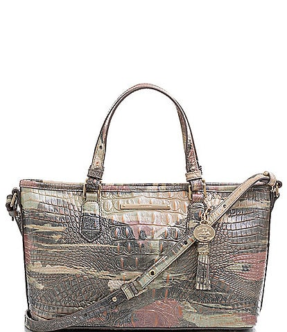 BRAHMIN Melbourne Collection Mini Asher Crocodile-Embossed Tasseled Tote Bag