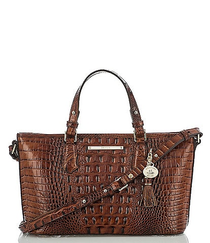 BRAHMIN Melbourne Collection Mini Asher Crocodile-Embossed Tasseled Tote
