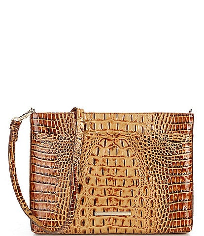 BRAHMIN Melbourne Collection Remy Crocodile-Embossed Leather Zip Top Crossbody Bag