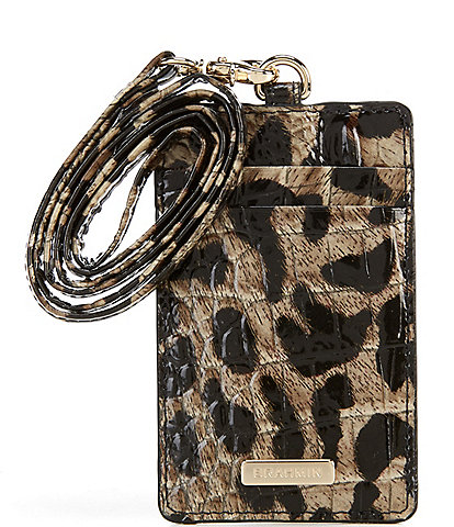 BRAHMIN Melbourne Collection Sawyer Crocodile-Embossed Lanyard Card Holder