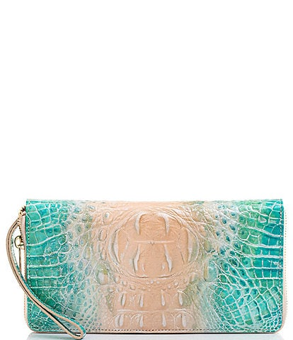 BRAHMIN Melbourne Collection Skyler Crocodile-Embossed Travel Wallet