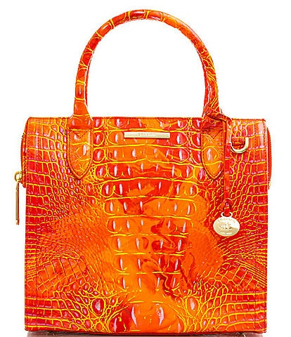 BRAHMIN Melbourne Collection Small Caroline Crocodile-Embossed Leather Satchel Bag