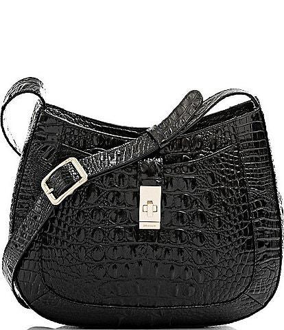 BRAHMIN Melbourne Collection Small Johanna Crocodile-Embossed Leather Crossbody Bag