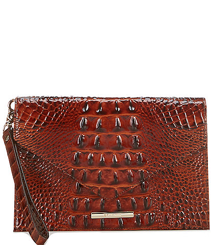 BRAHMIN Melbourne Collecton Sara Crocodile-Embossed Clutch Bag
