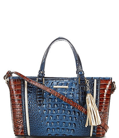 BRAHMIN Seacliff Collection Crocodile-Embossed Medium Asher Tasseled Tote Bag