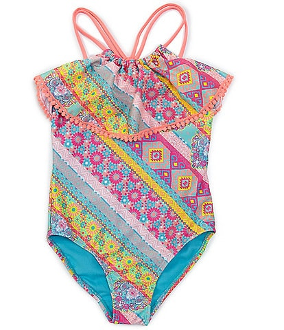Breaking Waves Big Girls 7-16 Beach Bohemian One-Piece Swimsuit