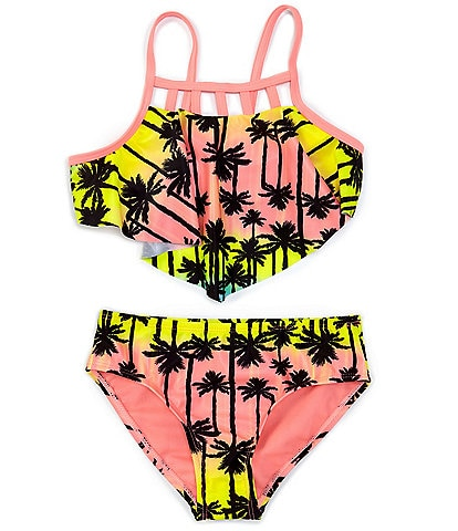 Breaking Waves Big Girls 7-16 Paradise Party Palm Tree Print Two-Piece Swimsuit