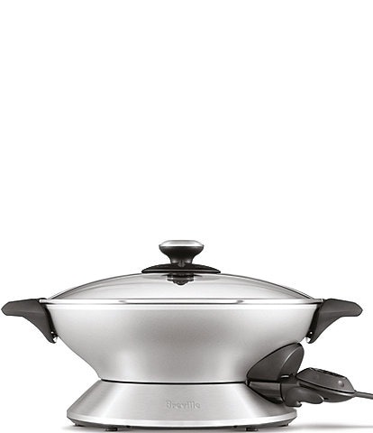 Breville Hot Wok 6-Quart 15 Settings Electric Stainless Steel Nonstick Wok