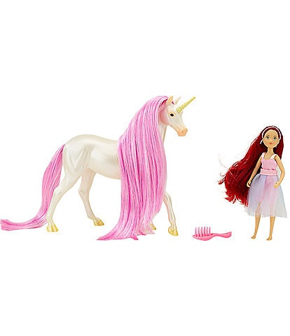 Breyer Magical Unicorn Sky and Fantasy Rider Meadow Set