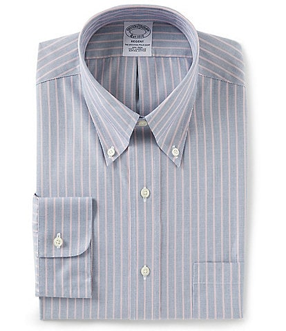 Brooks Brothers Non-Iron Regent Fit Button-Down Collar Double Striped Dress Shirt