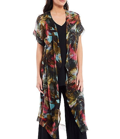 Bryn Walker Anja Print Sheer Silk Cap Sleeve Open Front Cardigan