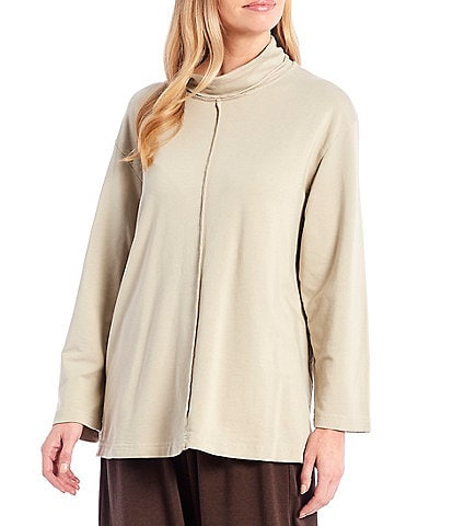 Bryn Walker Bamboo Cotton French Terry Long Sleeve Mock Neck Top