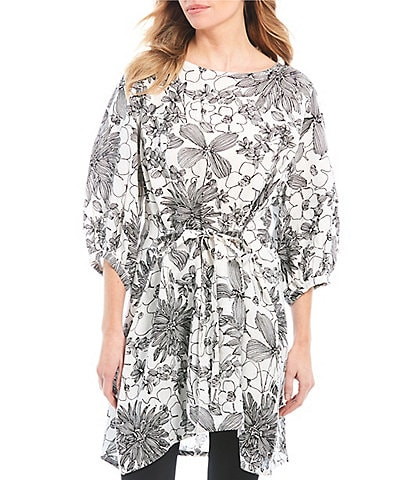 Bryn Walker Carina Floral Print 3/4 Bishop Sleeve Tie Front Light Linen Tunic Dress