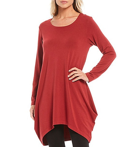 Bryn Walker Chels Organic Bamboo Cotton Long Sleeve Draped Tunic Dress