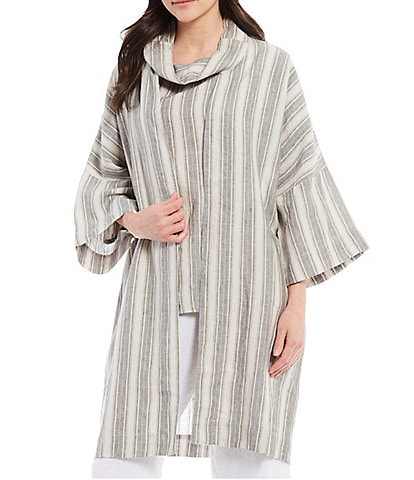 Bryn Walker Claude Stripe Linen Long Sleeve Open Front Jacket