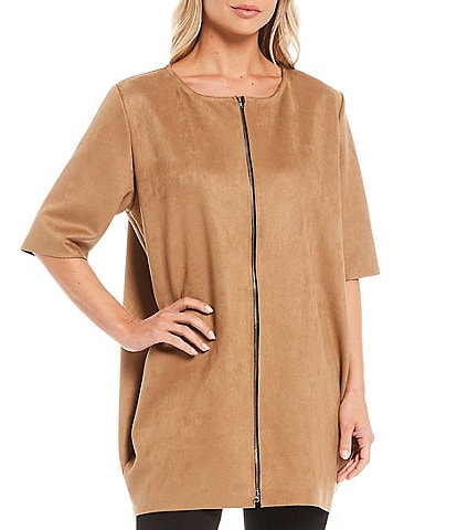 Bryn Walker Conrad Stretch Faux Suede Round Neck Short Sleeve Zip Front Tunic