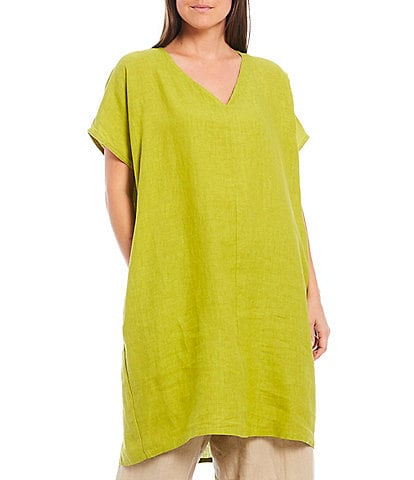 Bryn Walker Cross Dyed Linen V-Neck Short Sleeve Regan Tunic