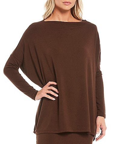 Bryn Walker Dimitri French Terry Bateau Neck Long Dolman Sleeve Hi-Low Tunic
