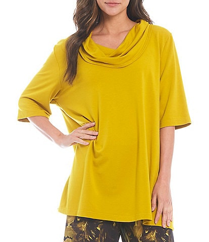 Bryn Walker Enola Bamboo French Terry Short Elbow Sleeve Cowl Neck Tunic